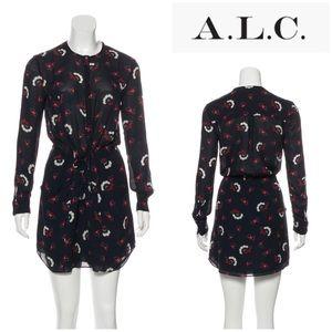 A.L.C midnight floral tie waist dress 0